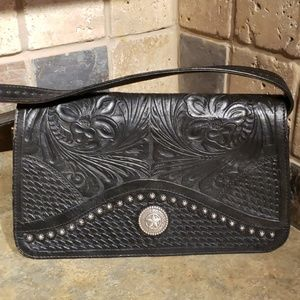 American West Hand Tooled Leather w/ Pewter Studs